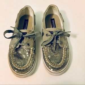 Girls Sperry Top Sider Bahama Pewter Boat Shoes